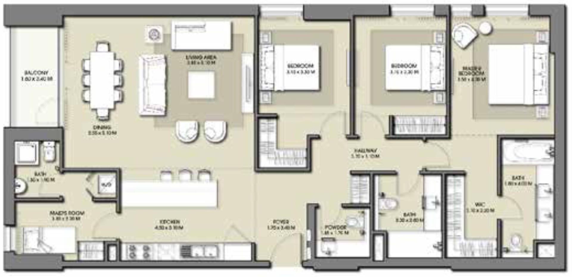 Emaar Park Point Floor Plans 3-Bedroom Apartment