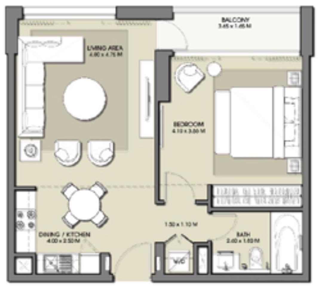 Emaar Park Point Floor Plans 1-Bedroom Apartment