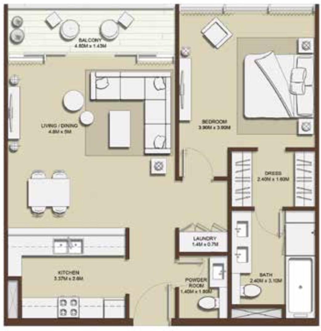 Emaar Mulberry Park Heights Floor Plans 1-Bedroom